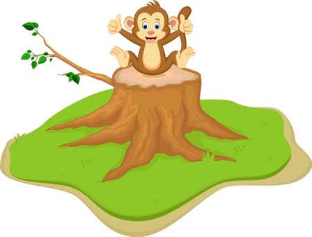 funny monkey cartoon sitting on tree stump Illustration
