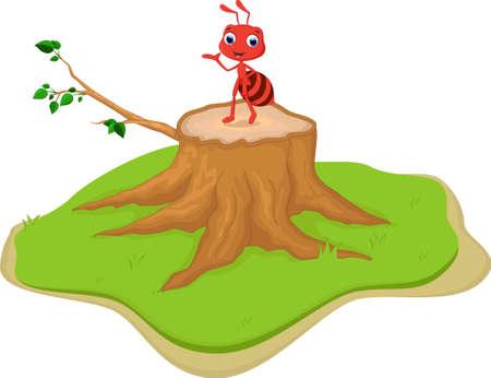 hormiga caricatura: de dibujos animados hormiga roja en toc�n de �rbol