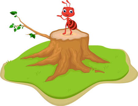 pincher: red ant cartoon on tree stump