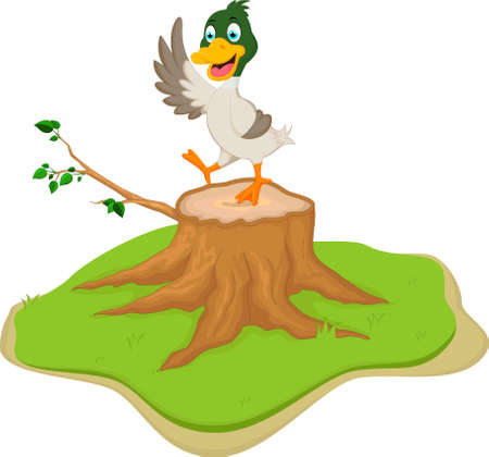 tree stump: duck cartoon on tree stump