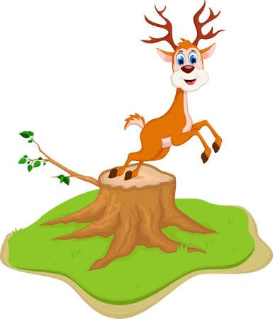 kiddish: funny deer cartoon posing on tree stump