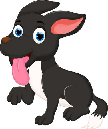 running nose: cute puppy cartoon posing