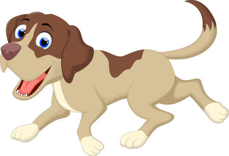 cute dog cartoon running Illustration
