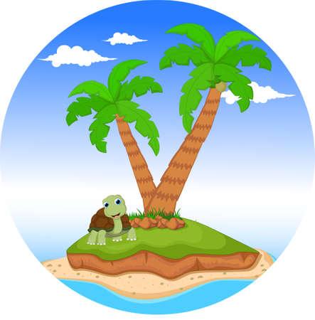 cartoon turtle on tropical island