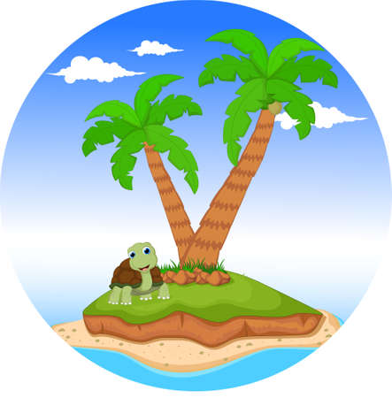 cartoon turtle on tropical island