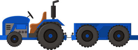 Realistic Blue tractor icon, logo, shape with big wheels isolated with smoke on white background