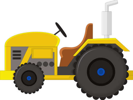 yelow: Realistic yelow tractor icon, logo, shape with big wheels isolated with smoke on white background