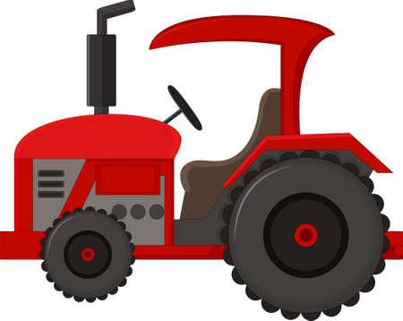 Red Tractor Cartoon Illustration