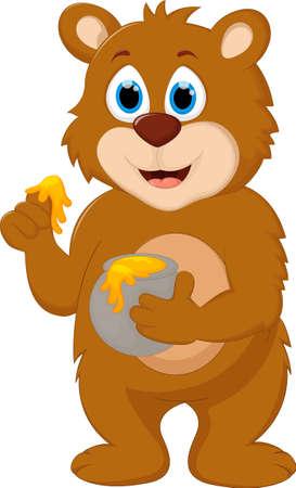 Cute Cartoon Bear holding honey pot