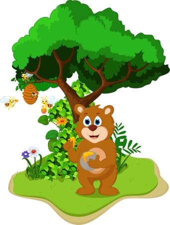 Cartoon Bear holding honey pot in the jungle