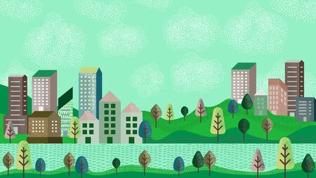 Vector illustration in simple minimal geometric flat style - city landscape with buildings, hills and trees, header images for web