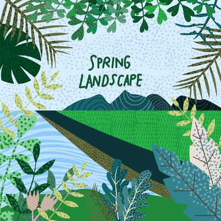 Spring Nature. Cute vector illustration of landscape natural background, village, River, forest and trees.