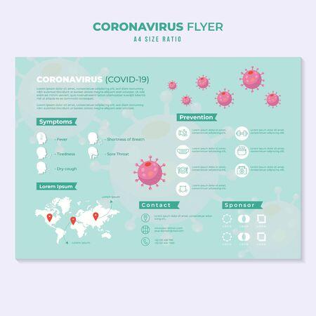 infographie sur le modèle d'éducation du flyer de la pandémie du virus corona