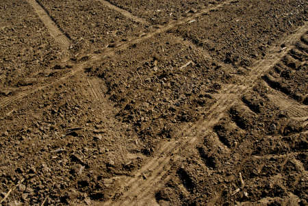 Wheel tracks on the field photo