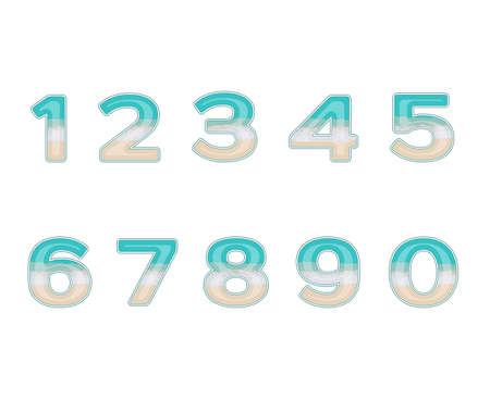 beach numbers Vector