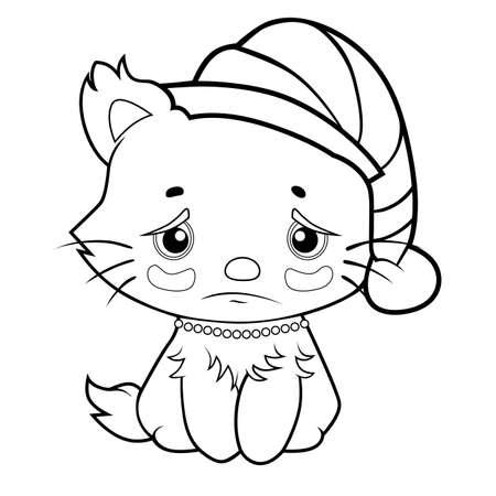 coloring book sad kitty Vector