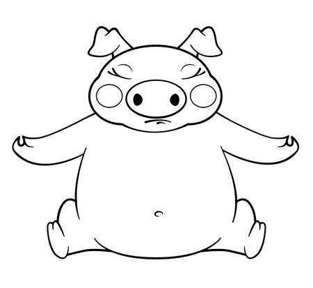 coloring book yoga pig Vector