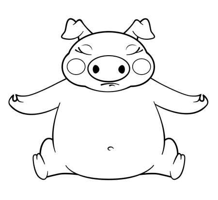 coloring book yoga pig