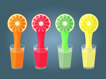 juice: Colorful illustration of  citrus fruits and glasses full of juice in flat design Illustration