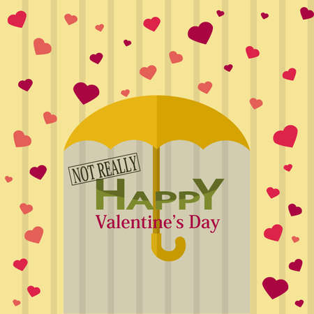 unusual valentine: Holiday Postcard for Valentine's day in flat design. Not really happy holiday Illustration