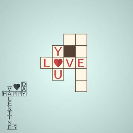 unusual valentine: Holiday Postcard for Valentine�s day in flat design. Crossword. Illustration