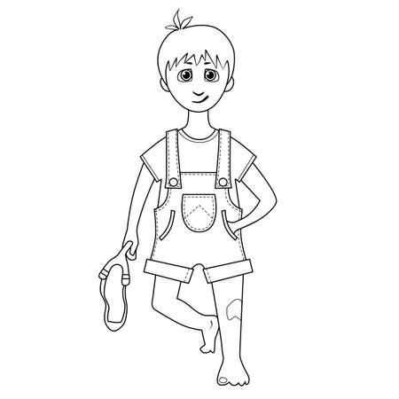Libro De Colorante. Dibujo De Un Niño Con La Catapulta En La Mano ...