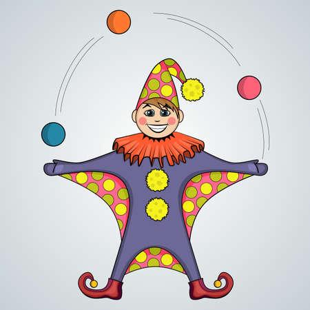 juggling: De dibujos animados de bolas de malabares, buf�n Vectores