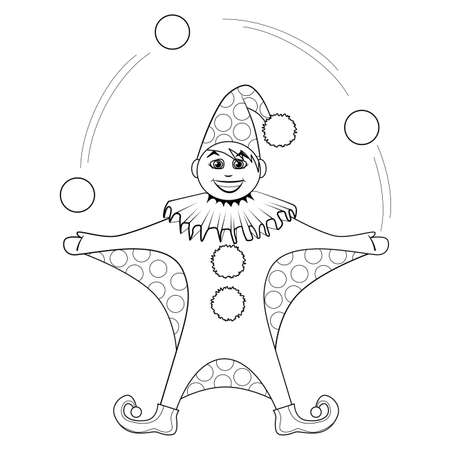 jester: Coloring book. Cartoon of jester juggling balls