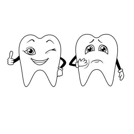 Coloring book. Cartoon of sad and happy teeth Vector