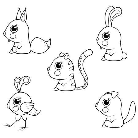 Coloring book. Collection of Cartoon Baby Animals Vector