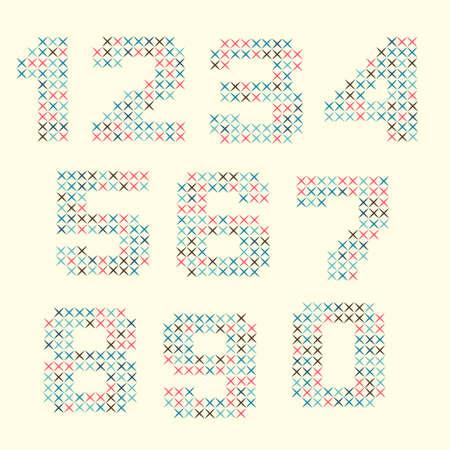 punto cruz: Números coloridos hechos de punto de cruz