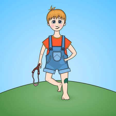injured knee: Cartoon of a boy with slingshot in hand and injured knee Illustration