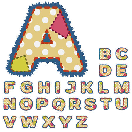 Alphabet in patchwork design with stitches and patches. Vector