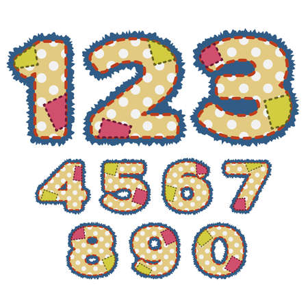 Numbers in patchwork design with stitches and patches. Vector