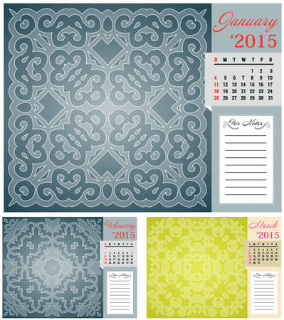 1 place: Calendar for 2015 with lace and place for notes, part 1 Illustration