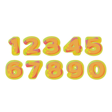 jelly: Colorful Numbers stylized  jelly or lemonade with bubbles