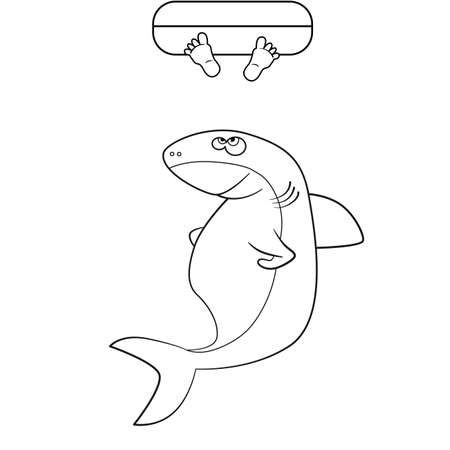 Coloring Book. Shark And Man\'s Legs In The Ocean Royalty Free ...