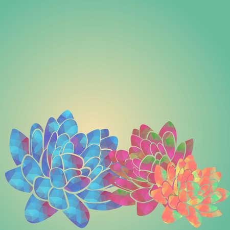 water lilies: Lirios de agua coloridos abstractos con patr�n de tri�ngulo Vectores