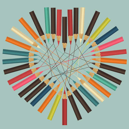 chancellery: Heart made of colorful pencils Illustration