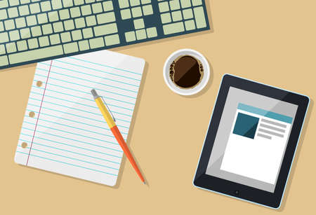 Part of keyboard with paper, tablet and cup of coffee in flat design, vector
