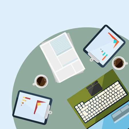 chancellery: Workplace with electronic devices and chancellery in flat design, vector