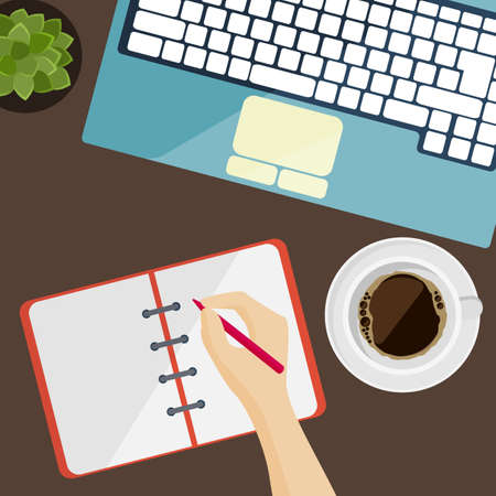 Part of keyboard, notepad and cup of coffee in flat design, vector