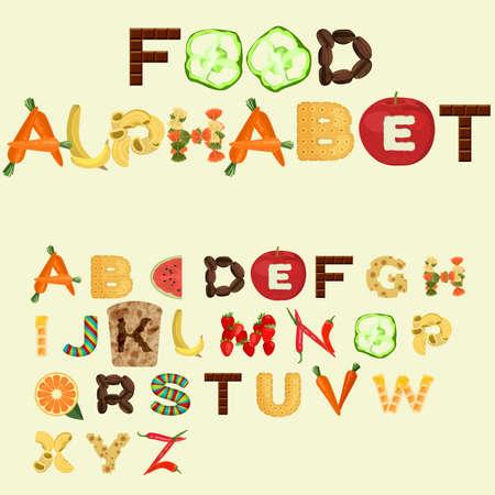 Alphabet made of different food in flat design Vector Illustration
