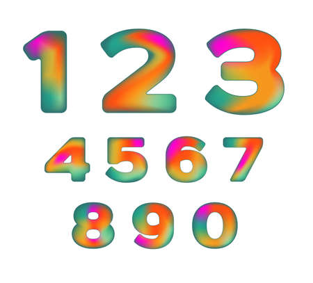 iridescent: Colorful Numbers with  iridescent color