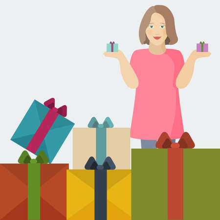 big boxes: Girl holding small gifts and standing behind stack of big boxes. Image in flat design