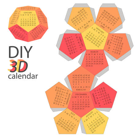 do it yourself: Scheme of 3d calendar - do it yourself - DIY Illustration