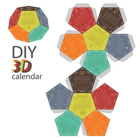 diy: Scheme of 3d calendar - do it yourself - DIY Illustration
