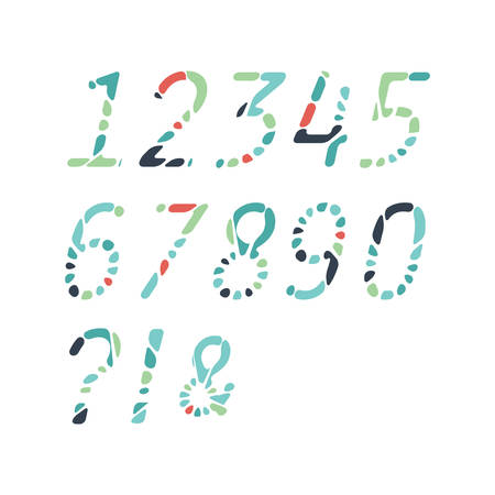 numbers abstract: Colorful abstract numbers made of mosaics