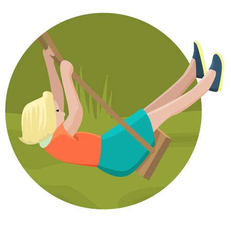 sway: Girl swinging on a swing, flat design