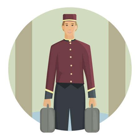 porter: Porter carrying a suitcase, flat design